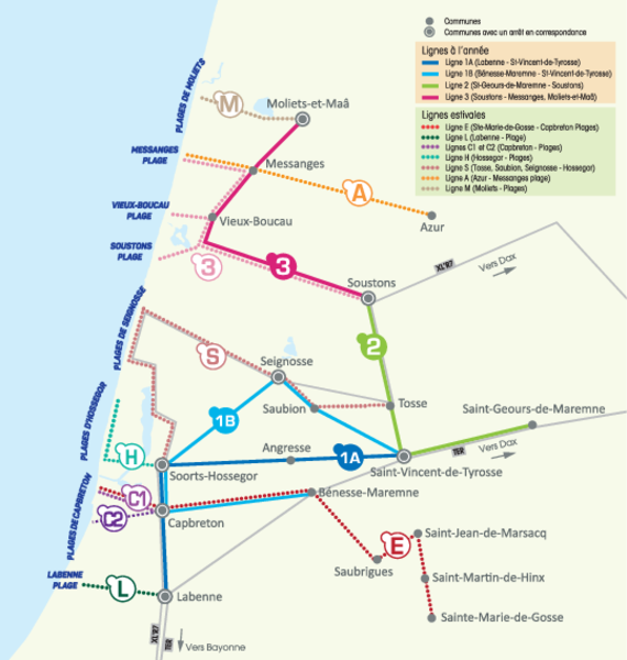 plan bus navette des plages Moliets Messanges Veiux Boucau Soustons Tyrosse Capbreton Labenne Hossegor _YEGOPLAGES_2019