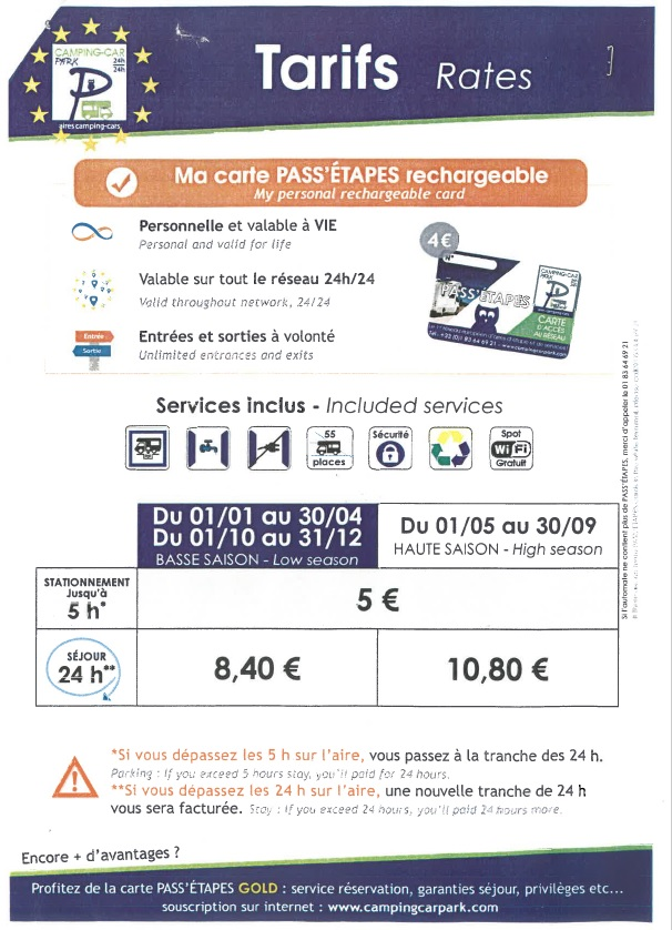 aire camping car messanges